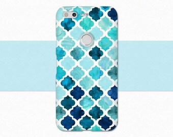 Moroccan Google Pixel 2 Case, Watercolor Pixel Case, Blue Pixel XL Case, Watercolor Pixel XL 2 Case, Blue Pixel Case, Moroccan Pattern Case