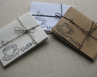 6 Handmade Latte blank thank you card set