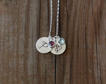 Personalized Initial Necklace, Monogram Necklace, Birthstone Jewelry, Personalized Mother Necklace, Grandma Necklace, Mother's Day Jewelry