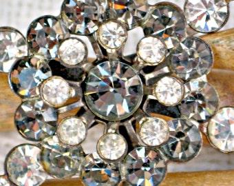 Vintage Rhinestone Brooch White and 'Black Diamonds' Vintage 50s Jewelry Free Shipping U.S.