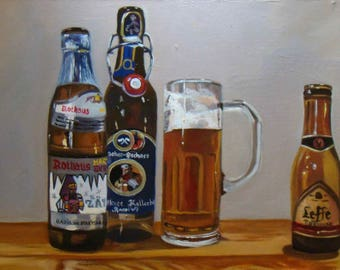 Beer Bottles, Still Life, Original and Unique Oil Painting by Anne Zamo