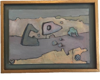 """Framed abstract oil painting 8""""x 5 1/4"""""""