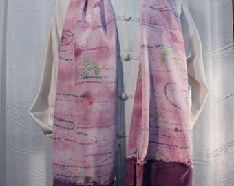 Scarf silk painted handmade silk crepe de chine