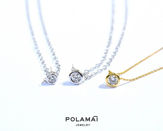 Diamond solitaire necklace 10 to 25ctw 18k gold single aloadofball Images