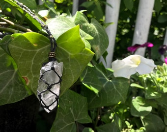 Hemp Macrame Wrapped Quartz Crystal