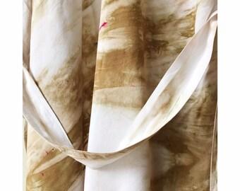 Hand Dyed Rayon Kimono Robe in Warm Sands , Tie Dyed Rayon Bathrobe, Knee Length, Anna Joyce, Portland, OR.