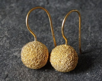 Silver Earrings, Gold Earrings, Ball Earrings, Granulation Earrings, Round Earrings, Gold Vermeil, Sterling Silver