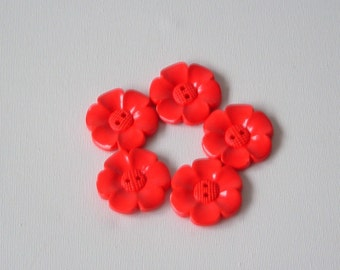 SALE Lot of 5 Flower Buttons - 40mm-  Red WAS 5.00 NOW 4.00