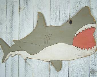Great White Shark Art Shark Decor Wood Shark Sign Shark Room Decor Boys Room Wall Decor Shark Week Beach House Decor Beach Decor Wall Art