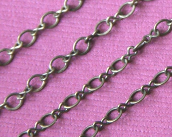 4ft Antiqued Brass Chain Figure 8 Connector Chain 2.9X 3.3mm links