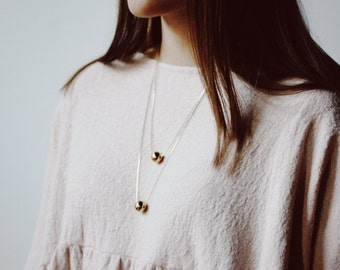 Gold Plated Necklace. Minimal Necklace. Delicate Necklace. Gold Necklace. Spheres and Cubes — 011