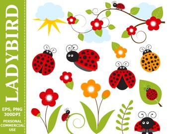 Digital Ladybird Clip Art Leaves, Branch, Ladybug, Flowers, Sun Clip Art