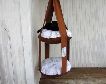 Hanging Cat Bed, Hazelnut & Cream Clouds, Double Cat Bed, Kitty Cloud,  Cat Bed, Pet Furniture, Pet Gift, Cat Tree, Catio
