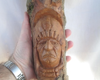 Native American War Chief Wood Carving, One of a Kind, Gift for him, Art, Rustic Log Cabin Decor, Hand carved in Missouri