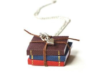 Miniature Book Necklace, Book Pendant, Book Jewelry, Reading, Books, Teacher Gift, Mini Heart Charm, 3 Mini Books, Book Lover, Bookworm