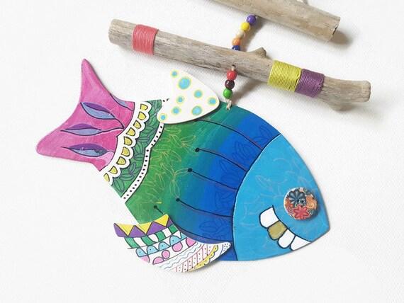 Pesce multicol ornamento da muro mobile pesci in legno for Pesci per laghetti esterni