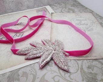 Velvet Rope Headband in Pink - Neckalce, Bracelet, Belt - Great Gatsby, 1920, Flapper Style Beaded Sequin Rhinestone Velvet Ribbon Headband