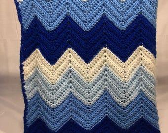 Vintage afghan blanket handmade in 4 shades of blue in stripes, chevron pattern , afghan, crochet, handmade, lap blanket, retro,