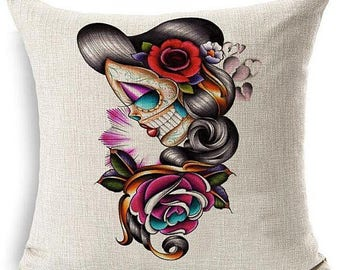 Sugar Skull Girl Pin up Day of The Dead Pillow Case Rose