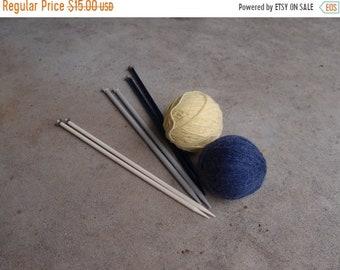 SALE SALE SALE Vintage Knitting Needles Destash Lot Aluminum Plastic Size 11 13 15 Three Pair Stitchery Supplies Blue Cream Bernat