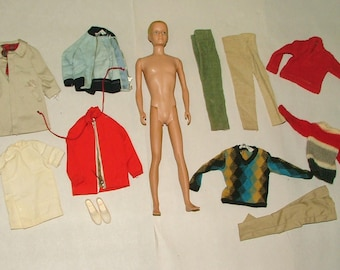 Vintage 1960's Ken Doll With Clothing And Accessories Original *****1960's*******