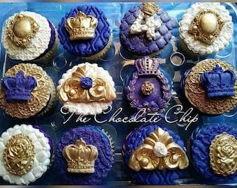 Royal cupcake fondant toppers