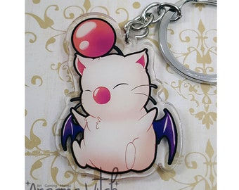 Acrylic Anime Moogle Charm Keychain Final Fantasy video game Kupo!