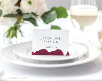 Wedding escort cards etsy personalized printable wedding place cards modern burgundy calligraphy watercolor wedding escort cards table setting junglespirit Images