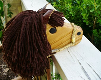 Brown Hobby Horse - Personalized Wooden Stick Horse
