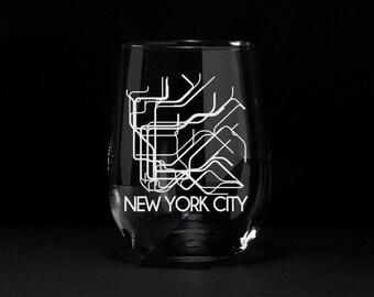 New York City, NYC Wine Glass, NYC Subway, NYC Subway Etched Glass, New York City Subway Wine Glass, New York City Subway