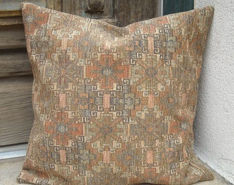 Southwestern Pillow Cover. 16 x 16 to 24 x 24.  Rich upholstery fabric.  Soft southwest colors.