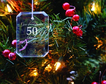 Wedding Anniversary Ornament - Anniversary Gift - Christmas Tree Decoration - Wife Gift - Xmas Present - Gift for Parents - Grandparent Gift