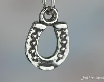 Small Sterling Silver Horseshoe Charm Horse Good Luck Tiny Solid .925