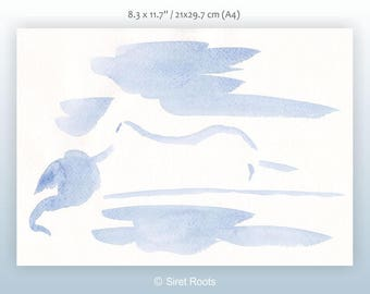 Minimalist blue nude sketch. Blue brush drawing for bedroom wall art. Light and subtle watercolor art. Female nude.