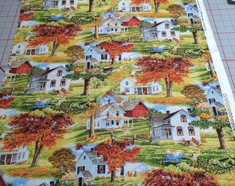 Bringing in the Harvest-Houses Cotton Fabric from Wilmington Prints