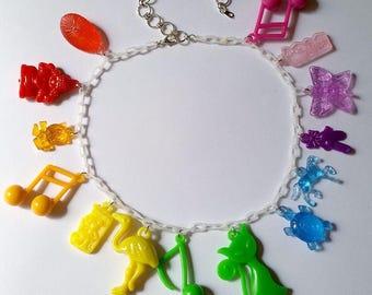 Vintage Charm Necklace - Kawaii Jewelry Pop Kei Jewelry Charm Necklace 80s Fashion Decora Jewelry Harajuku Fashion Decora Necklace Rainbow