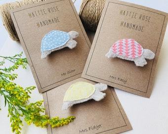 Tortoise Pin Badge | Tortoise Badge | Felt Tortoise Brooch | Personalised Tortoise Pin | Felt Brooch | Felt Pin | Personalised Name Brooch
