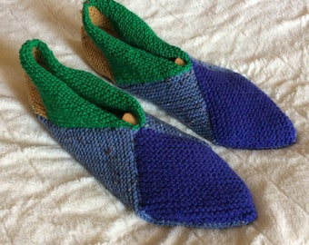 Booties knit from wool blue-green-yellow - size 42