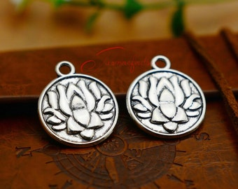 15PCS--24x20mm ,Lotus Flower Charms, Antique silver Lotus Flower Charm pendant, DIY supplies,Jewelry Making