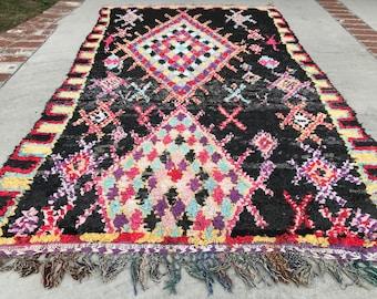 "FREE SHIPPING!!! ""PRISCILLA"" Boho Chic Rug Vintage Moroccan Boucherouite in Multi Colors (Los Angeles)"