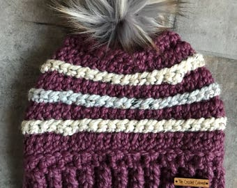 Lennox Beanie, Adult Winter Hat, Crochet Hat, Crochet Beanie, Striped Beanie, Fur Pom Hat, Crochet Fur Pom Hat, READY TO SHIP