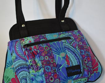 Quilted Multi Color Kaffe Fassett Print with Black Woven Top Band Purse