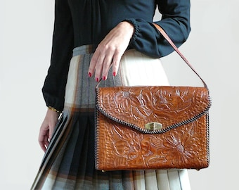 Vintage 70's Hand Tooled Floral Brown Leather Handbag Purse / Bohemian Chic