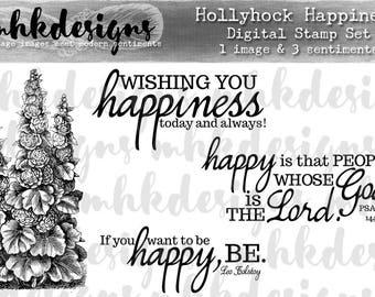 Hollyhock Happiness Digital Stamp Set