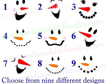 Snowman Faces Decal - Snowman Decal - Vinyl Decal - Yeti Decal OR Snowman Iron-on - Baby Iron-on - Iron-on Transfers - DIY Iron-on Transfers