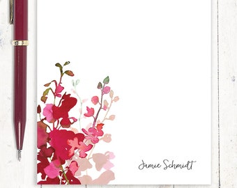 personalized notePAD - RED WATERCOLOR ORCHID - personalized stationary - stationery - gift for her - red orchid pad - pink orchid pad