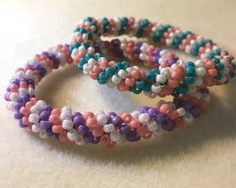 Beaded bangle bracelets // set of 2 // gift for her
