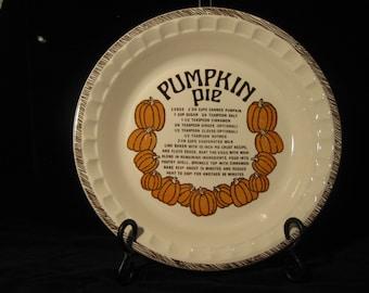 Vintage Pumpkin Pie Recipe Pie Plate Ceramic Pie Plate 1980s Pie Dish USA & Pumpkin pie plate | Etsy