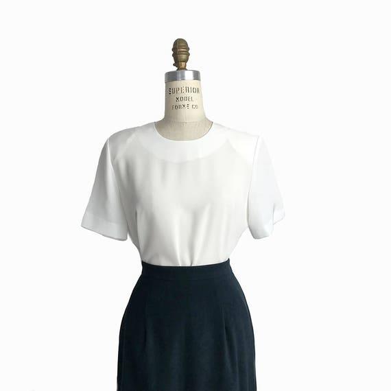 Vintage 90s Semi-Sheer White Blouse / Short Sleeve White Top - women's medium/large