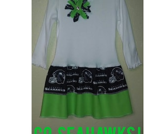Seattle Seahawks Double Ruffle Long Sleeve Dress **SHIPS NEXT DAY** 2t 3t 4t 5 6 Matching Pants {{12th Man}}